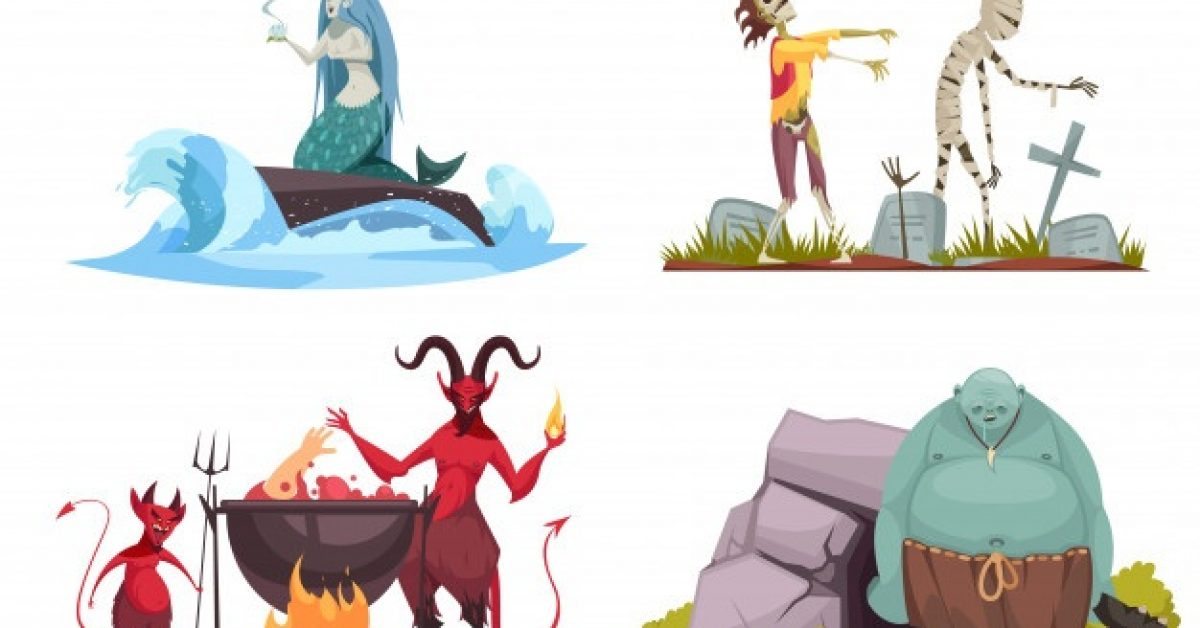 evil-character-concept-4-cartoon-compositions-with-wicked-sea-witch-tricking-mermaid-haunted-cemetery-isolated_1284-27822