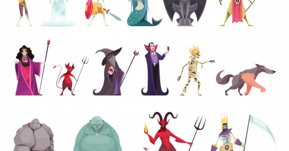 evil-fairy-tails-characters-set-with-wicked-witch-stepmother-queen-vampire-stone-man-dragon-funny-colorful_1284-27818