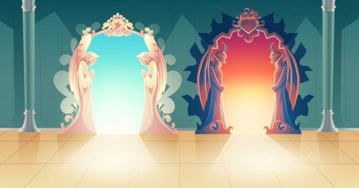 heaven-hell-gates-cartoon-vector-with-humbly-praying-angels-scary-horned-demons-meeting-gues_1441-2891