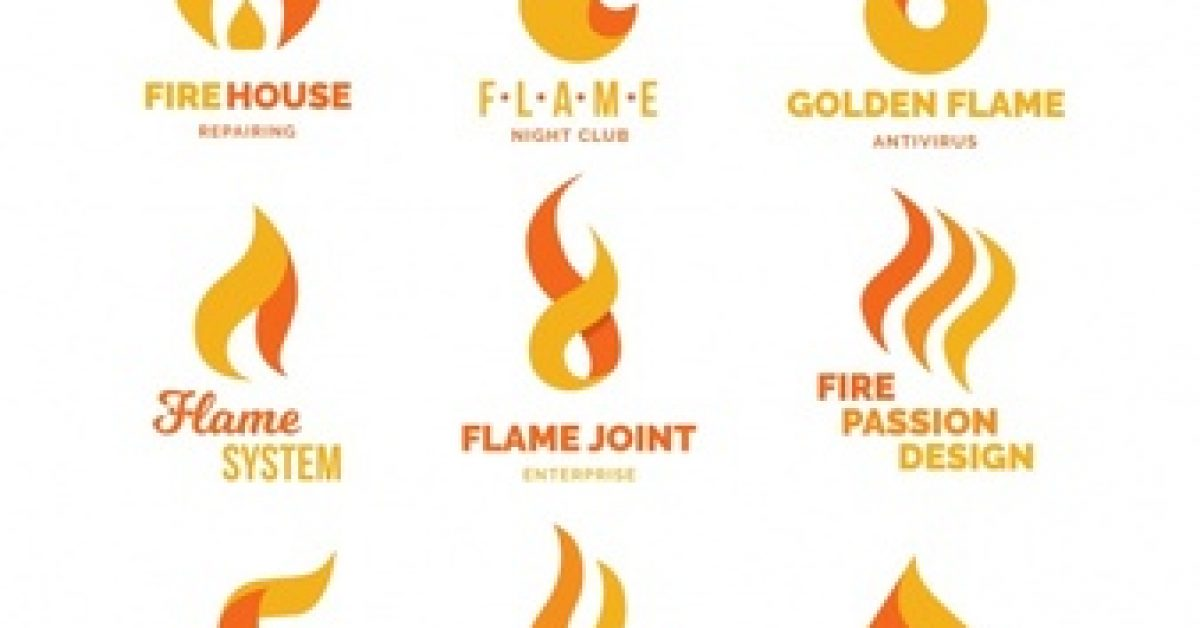 set-nine-flame-logos-flat-design_23-2147613057